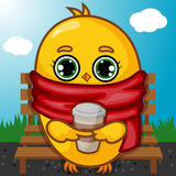 Yellow Chick Character Sitting on the Bench Stock Photography