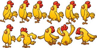 Yellow chicken animation. Yellow chicken walk and jump cycle, ready for animation. Vector clip art illustration with simple gradients. Each on a separate layer Royalty Free Stock Images