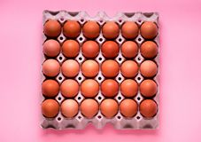 Yellow chicken eggs in a cardboard box Royalty Free Stock Image