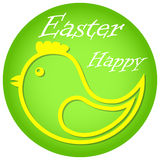 Yellow chicken. Yellow chicken in a green circle. Symbol of Easter Stock Images