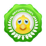 Yellow chicken head in green natural label with laurel Royalty Free Stock Image