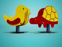 Yellow chicken and red turtle on spring for children 3d render on blue background with shadow vector illustration