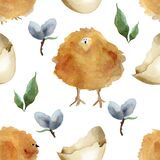 Yellow chickens  eggshells and vegetable elements easter seamless pattern.