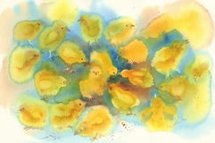 Yellow chickens watercolor Stock Photo
