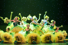 Yellow chicks-ugly duckling -Children dance Stock Photo