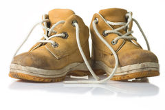 Yellow child shoe Royalty Free Stock Images