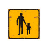 Yellow children warning road sign isolated on white Royalty Free Stock Photography