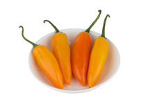 Yellow chili pepper on white bowl stock images