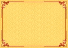 Yellow chinese little fan abstract background with red border Stock Photo