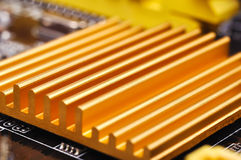 Yellow chipset heatsink Royalty Free Stock Photography