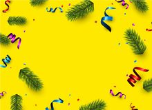 Yellow Christmas background with colorful serpentine. New Year background with spruce branches and colorful serpentine. Vector illustration Royalty Free Stock Image