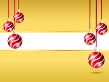 Yellow Christmas background. Hanging red ribbon ball decoration in right and left side with white blank space for greeting text stock illustration