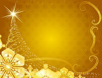 Yellow christmas background with snowflakes. Yellow christmas background with snowflakes and stylized fur tree Royalty Free Stock Image