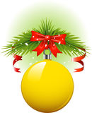 Yellow Christmas ball. Vector over white. EPS 8 Stock Images