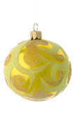 Yellow christmas ball Stock Photo