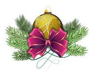 Yellow Christmas ball with bow Stock Photography
