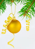 Yellow christmas ball – isolated Stock Photo