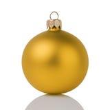 Yellow christmas ball isolated on white Stock Photo