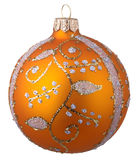 Yellow christmas ball with ornament Stock Photos