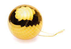 Yellow christmas ball Stock Photos