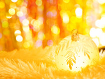 Yellow christmas ball Royalty Free Stock Images