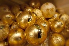 Yellow christmas balls. Many yellow christmas balls one on others Royalty Free Stock Photography
