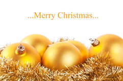 Yellow christmas balls Stock Photography