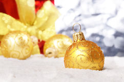 Yellow christmas balls Royalty Free Stock Images