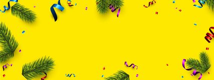 Yellow Christmas banner with colorful serpentine. New Year banner with spruce branches and colorful serpentine. Vector illustration Royalty Free Stock Photo