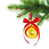 Yellow Christmas bauble with red satin bow Stock Image