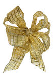 Yellow Christmas Bow over White Background Stock Image