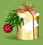 Yellow Christmas box Royalty Free Stock Images