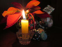 Yellow Christmas Candle. Stock Photos