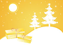 Yellow christmas card Stock Images
