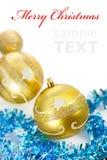 Yellow christmas decorations Royalty Free Stock Photo