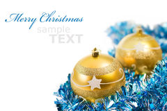 Yellow christmas decorations. Isolated on white background with copy space for text Royalty Free Stock Images