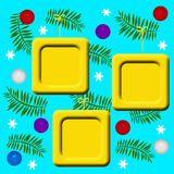 Yellow Christmas frames. Yellow picture frames hanging from Christmas tree boughs illustration Royalty Free Stock Images