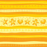 Yellow Christmas seamless background. With cookies stock illustration