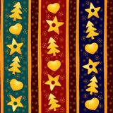 Yellow Christmas seamless background. Ornamental Christmas seamless background with cookies Stock Image