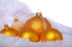 Yellow christmas toys on sheep wool Stock Images
