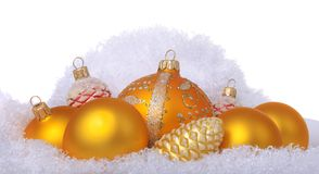 Yellow christmas toys on sheep wool Royalty Free Stock Images