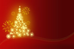 Abstract yellow christmas background. Yellow christmas tree and fireworks Royalty Free Stock Images