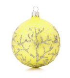 Yellow Christmas tree ball isolated on the white background Royalty Free Stock Photo