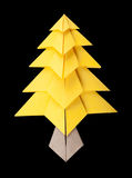 Yellow christmas tree black isolated Royalty Free Stock Photos