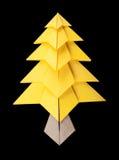 Yellow christmas tree black isolated. Origami Royalty Free Stock Photos