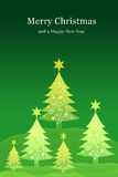 Yellow christmas tree with snow sky background Royalty Free Stock Image