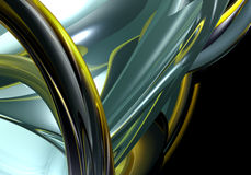 Yellow&chrom wires. A Study of Form&Colors, rendered in Bryce Royalty Free Stock Image