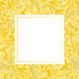 Yellow Chrysanthemum, Kiku Japanese Flower Banner Card Border. Vector Illustration.  stock illustration