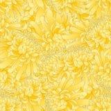 Yellow Chrysanthemum, Kiku Japanese Flower Seamless Background. Vector Illustration.  stock illustration