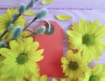 Yellow chrysanthemum on a pink wooden background, mother`s day, tag, willow sale. Yellow chrysanthemum on a pink wooden background, mother`s day, tag, willow Stock Photo